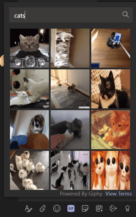 Screenshot of cats gifs in Microsoft Teams.