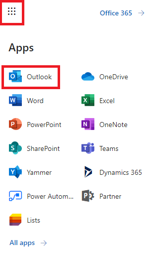 Screenshot of Office 365 Apps menu.