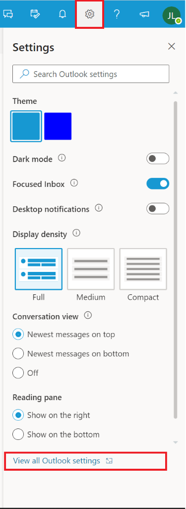 Screenshot of Outlook 365 settings.