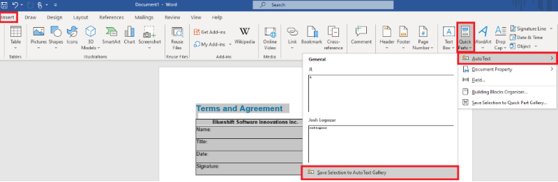 Screenshot of Quick Parts options in Microsoft Word.
