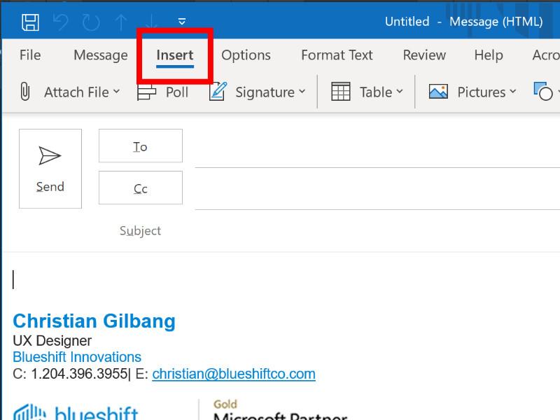 Screenshot of Insert menu in Microsoft Outlook.