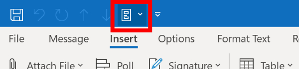 Screenshot of Quick Parts button in the top ribbon in Microsoft Outlook.