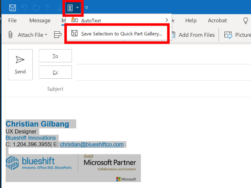 Screenshot of saving a Quick Part in Microsoft Outlook.