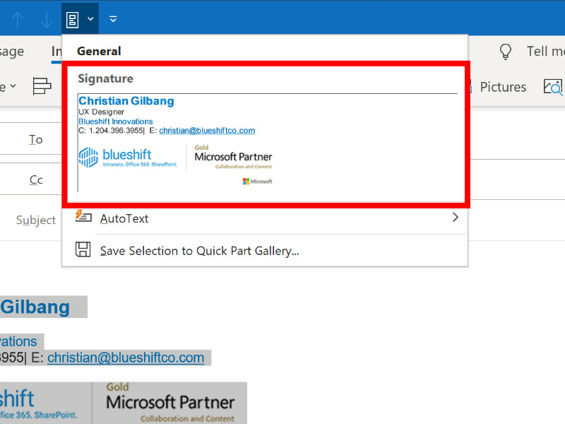 Screenshot of adding a Quick Part in Microsoft Outlook.
