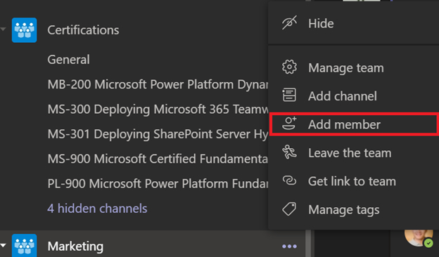 Screenshot of Team options menu in Microsoft Teams.