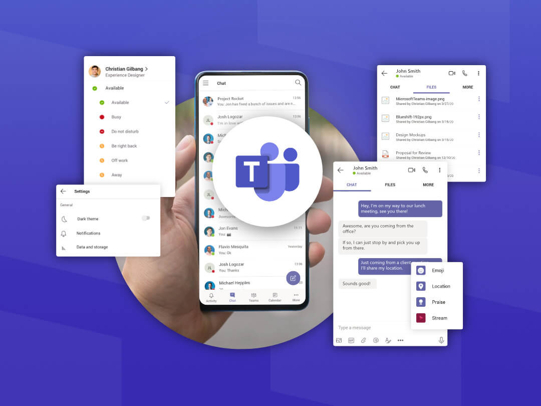 Image highlighting the mobile features of Microsoft Teams app.