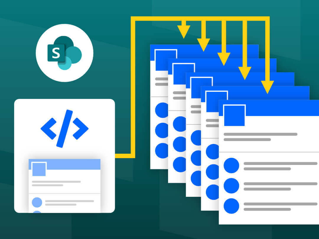 Image of SharePoint site script creating multiple sites.