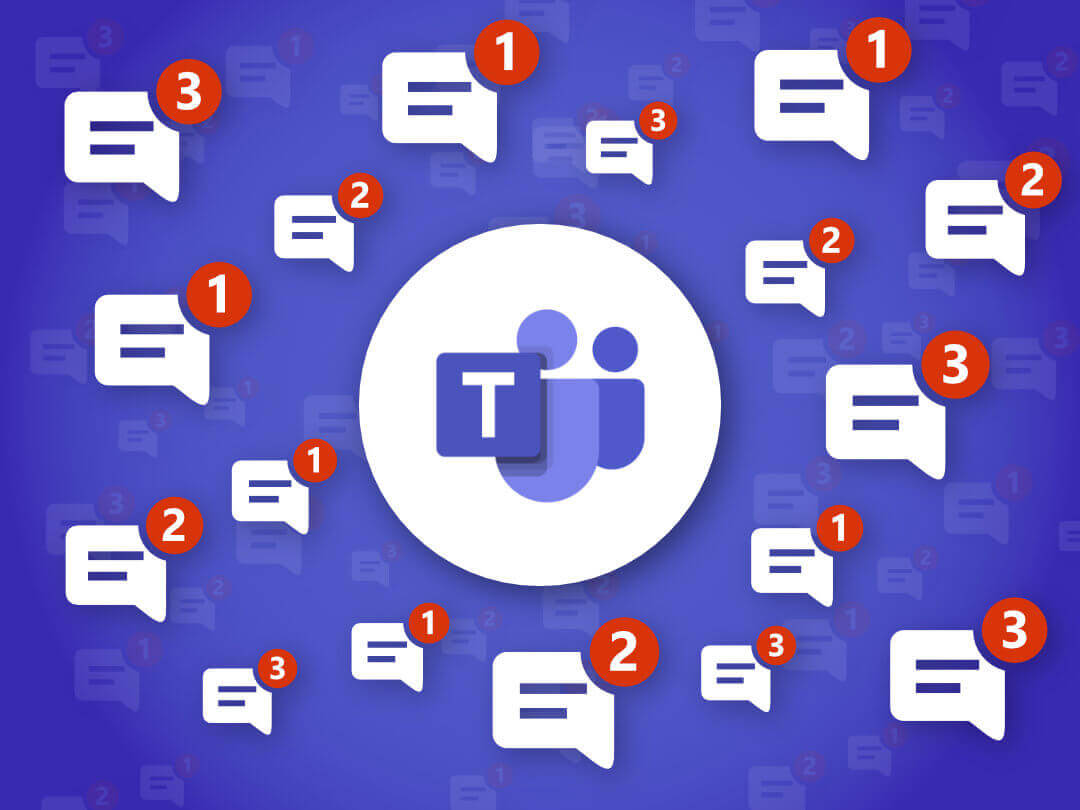 Image of Microsoft Teams surrounded by staggering number of notifications.