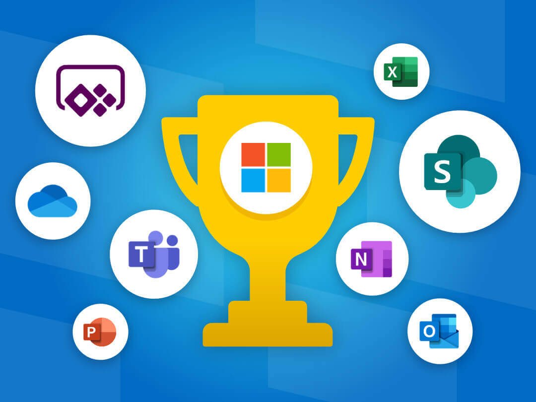 Image of a Microsoft 365 trophy with Microsoft 365 apps in around it.
