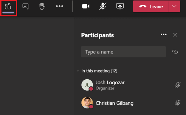 Screenshot of the 'Participants' button in Microsoft Teams.