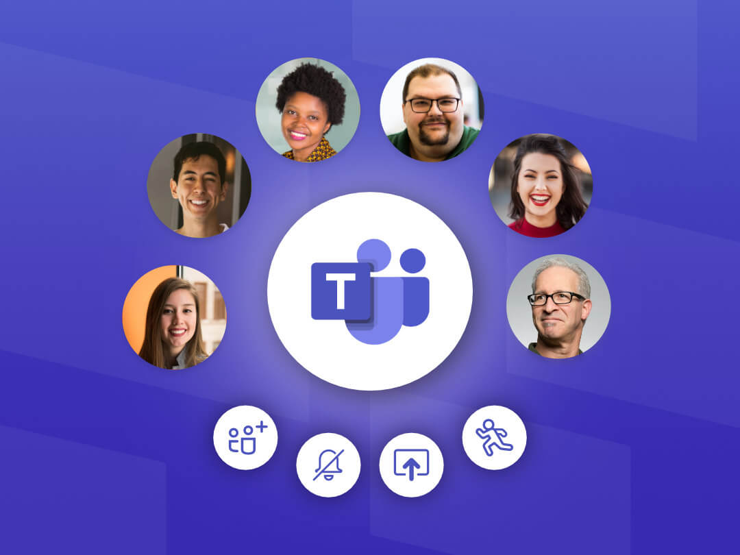 Image of Microsoft Teams meeting attendees with control options for Organizers.