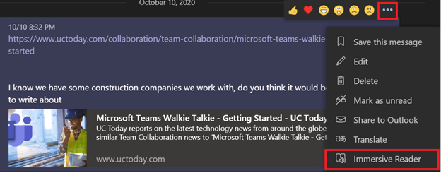 Screenshot of the Immersive Reader feature in Microsoft Teams.