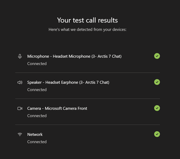 Screenshot of a test call result in Microsoft Teams.