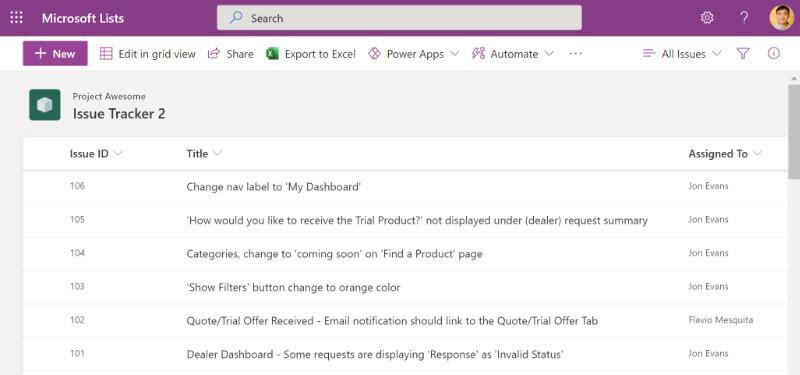 Screenshot of an example list is Microsoft Lists.