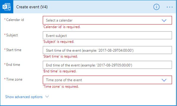 Screenshot of creating a calendar event in Power Automate.