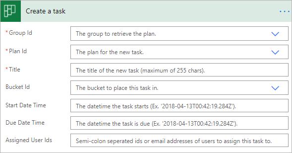 Screenshot of Planner Task settings in Power Automate.