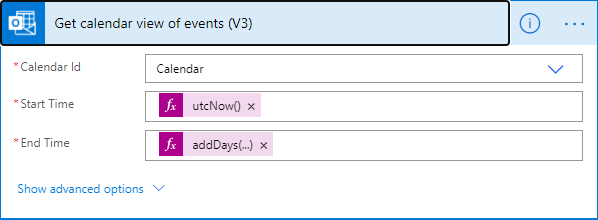 Screenshot of getting a calendar view of events in Microsoft Power Automate.