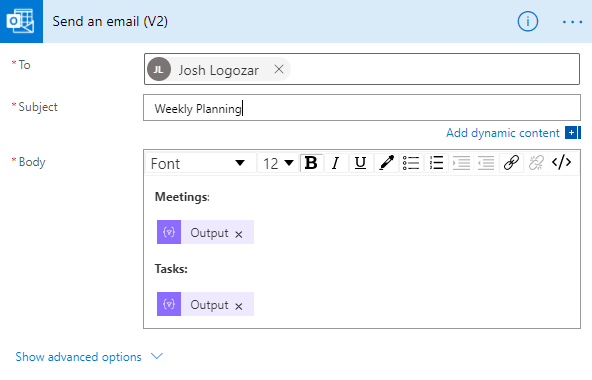 Screenshot of a Send an email action settings in Microsoft Power Automate.