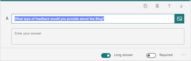 Image of adding a 'text' question to a form in Microsoft Forms.