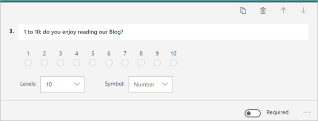 Image of adding a 'rating' question to a form in Microsoft Forms.