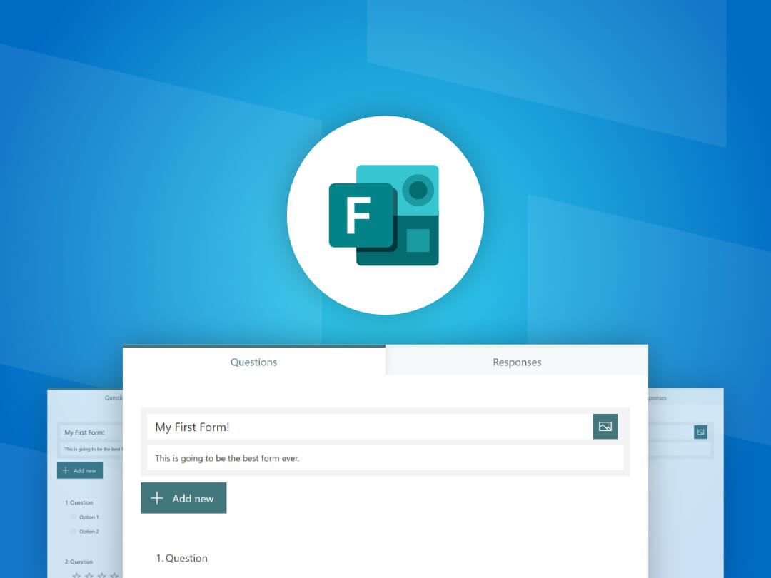 Image of create a new form in Microsoft Forms.