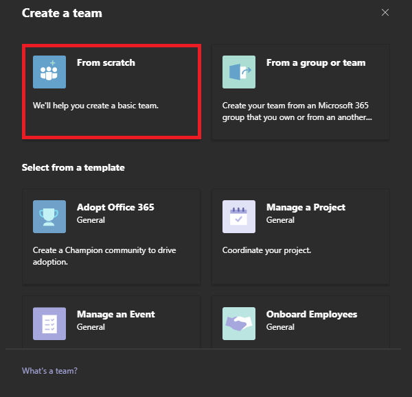 Image of creating a team from scratch in Microsoft Teams.