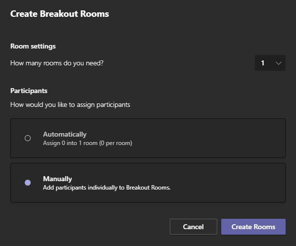 Image of Breakout Room settings in Microsoft Teams.