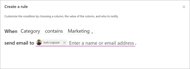 Image of creating a rule notification in Microsoft Lists.