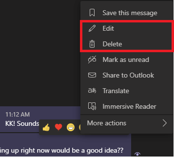 Image of Delete and Editing a message in Microsoft Teams.