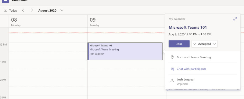 Image of joining a Microsoft Teams meeting through the calendar.