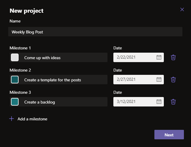 New project options in the Milestones app.