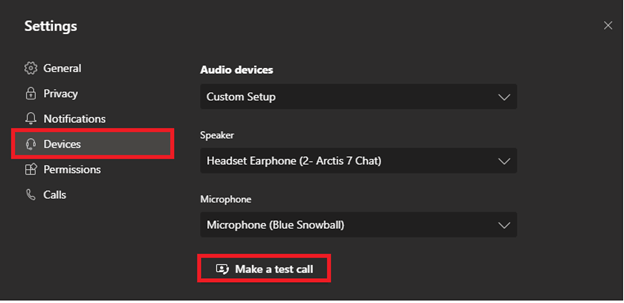 Image highlighting the 'Make a test call' option in Microsoft Teams.