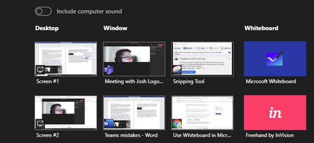 Image of the Screen Sharing options in Microsoft Teams.