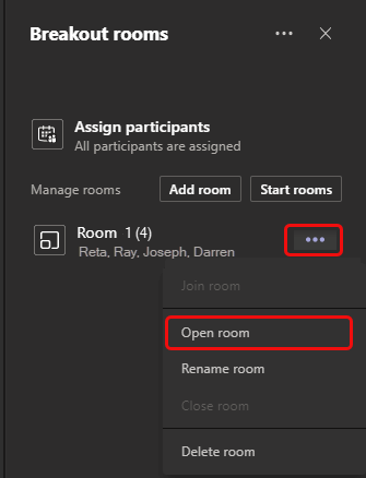 Image of how to open a breakout room in Microsoft Teams.