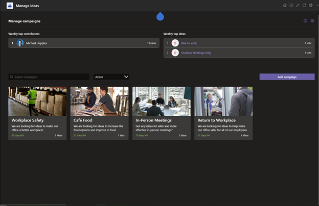 Image of the manage ideas dashboard in the Employee Ideas app in Microsoft Teams.