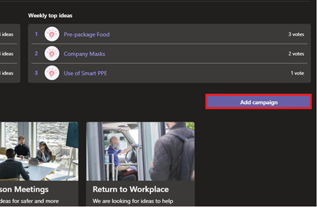 Image of adding a campaign in the Employee Ideas app for Microsoft Teams.