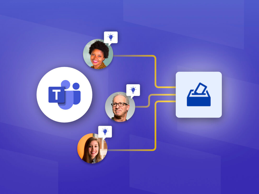 Image of team members submitting ideas using the Employee Ideas app in Microsoft Teams.