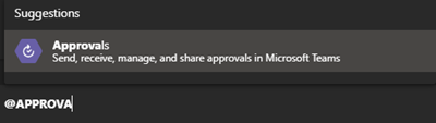 Image of entering the Approval App comman in Microsoft Teams.