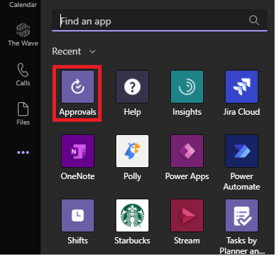 Image of searching for the Approval App in Microsoft Teams.
