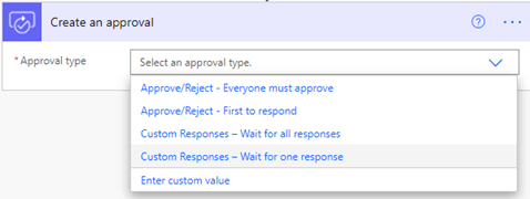 Image of selecting and approval type in Power Automate.