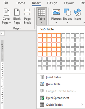 Image of creating a bingo table in Microsoft Word.