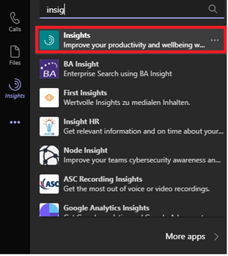 Image of the Insights app in Microsoft Teams.