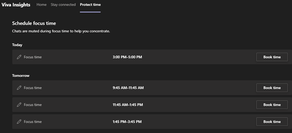 Image of the Protect Time tab in Viva Insights within Microsoft Teams.
