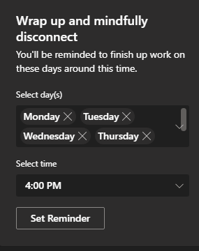 Image of the 'Wrap up an mindfully disconnect' feature Viva Insights within Microsoft Teams.