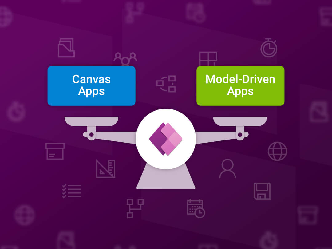 Image of how to choose between canvas or model-driven power apps.