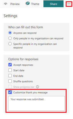 Image of the custom response settings in Microsoft Forms.