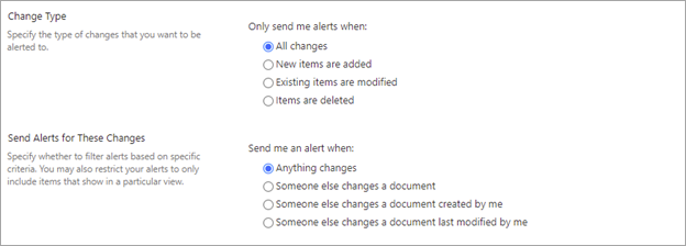 Image of setting up when alerts should be triggered in a document library.