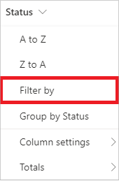 Image of filtering a view in a document library.