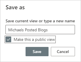 Image of saving a view in a document library.