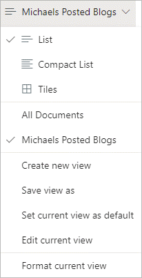Image of all default and created views in a document library.